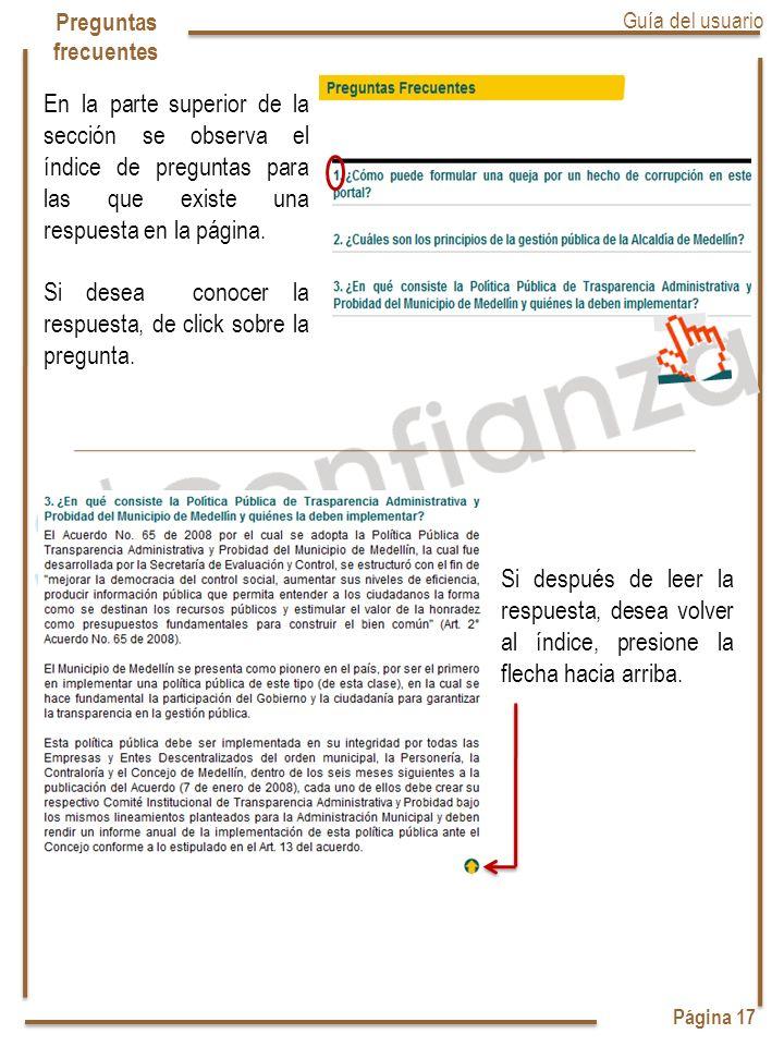 Página 17 Preguntas frecuentes Guía del usuario En la parte superior de la sección se observa el índice de preguntas para las que existe una respuesta