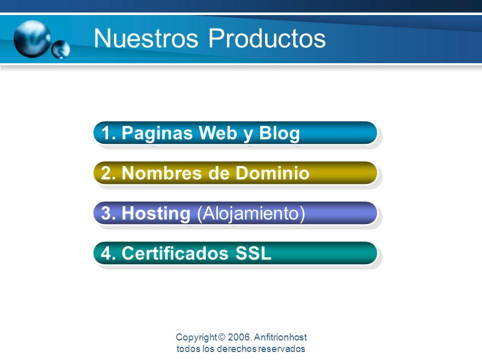 Nuestros Productos 1.Paginas Web y Blog 2. Nombres de Dominio 3.