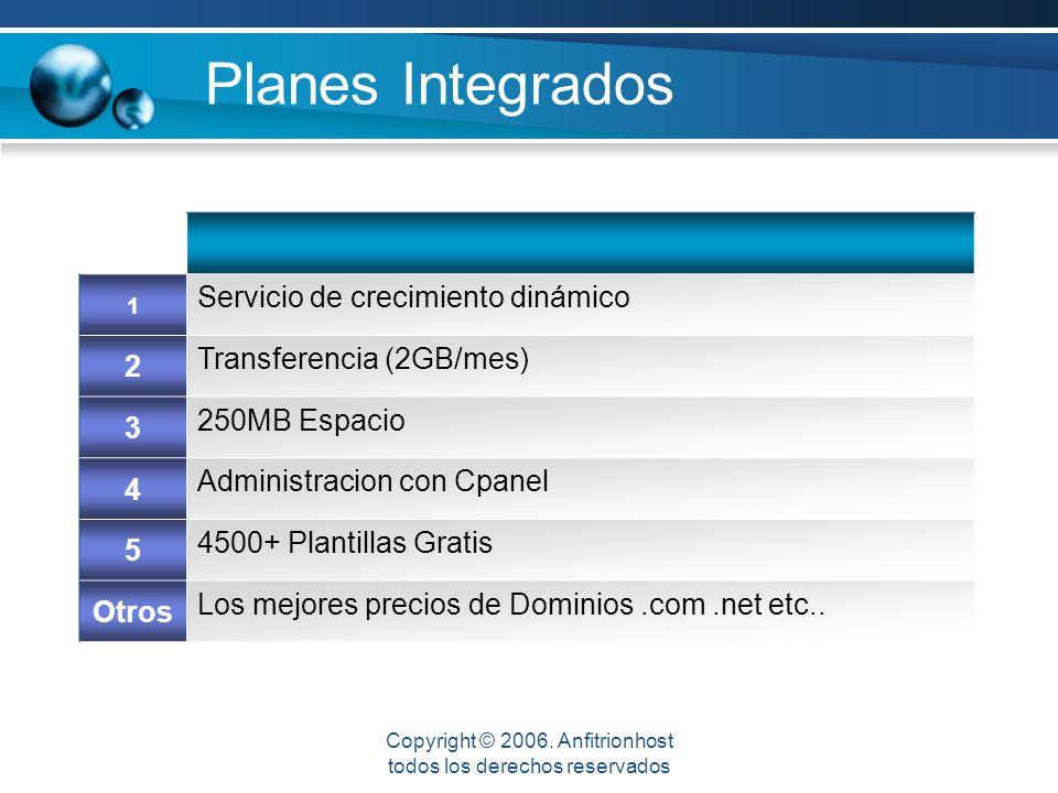 Planes Integrados 1 Servicio de crecimiento dinámico 2 Transferencia (2GB/mes) 3 250MB Espacio 4 Administracion con Cpanel 5 4500+ Plantillas Gratis Otros Los mejores precios de Dominios.com.net etc..