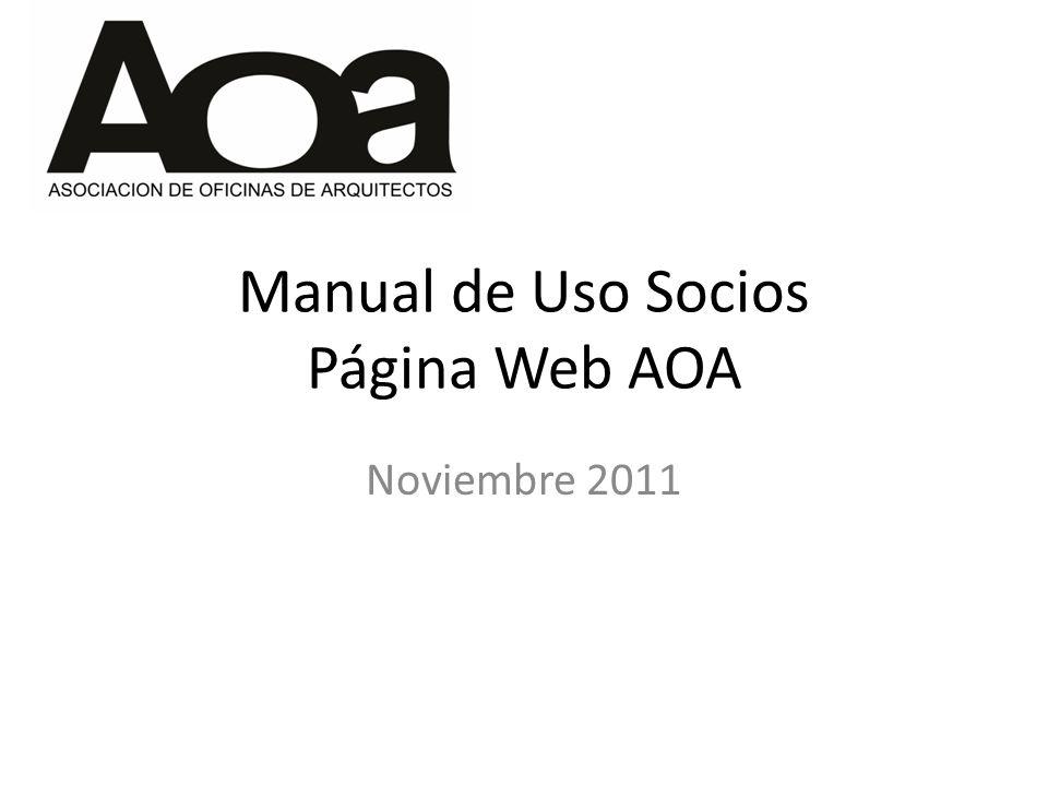 Manual de Uso Socios Página Web AOA Noviembre 2011