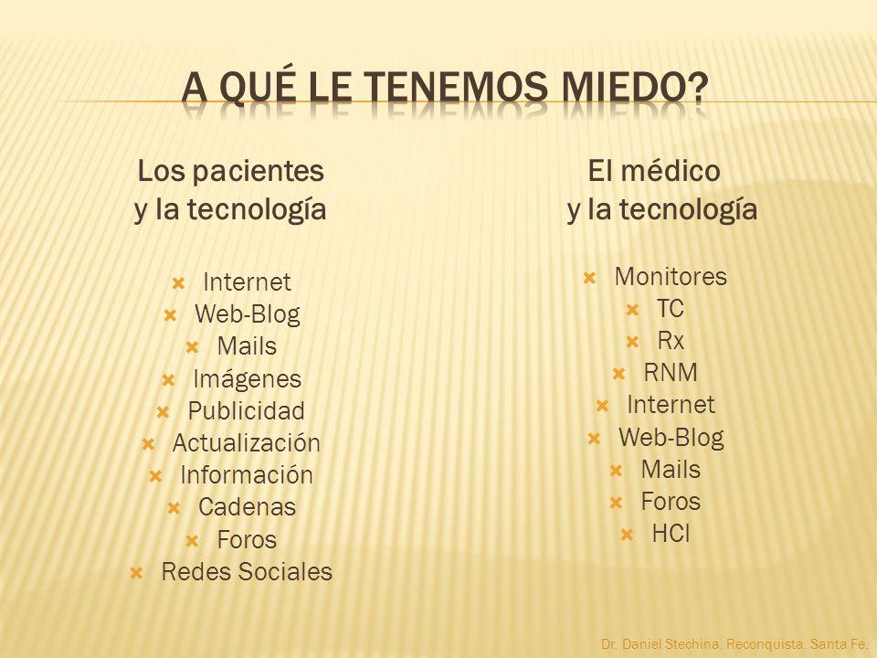 Los pacientes y la tecnología Internet Web-Blog Mails Imágenes Publicidad Actualización Información Cadenas Foros Redes Sociales El médico y la tecnol