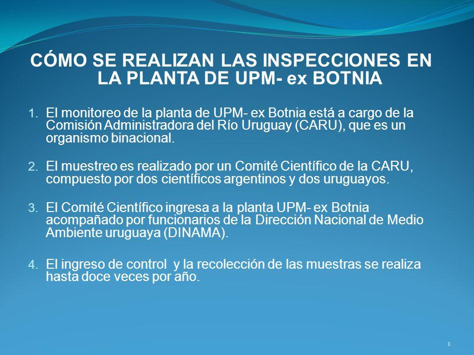 CÓMO SE REALIZAN LAS INSPECCIONES EN LA PLANTA DE UPM- ex BOTNIA 1. El monitoreo de la planta de UPM- ex Botnia está a cargo de la Comisión Administra