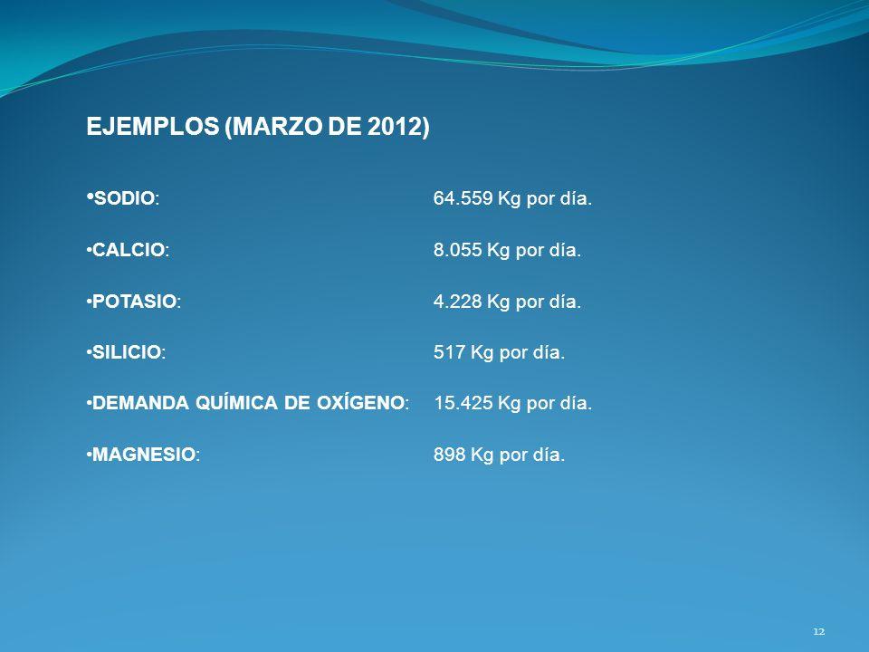 EJEMPLOS (MARZO DE 2012) SODIO: 64.559 Kg por día. CALCIO:8.055 Kg por día. POTASIO:4.228 Kg por día. SILICIO:517 Kg por día. DEMANDA QUÍMICA DE OXÍGE