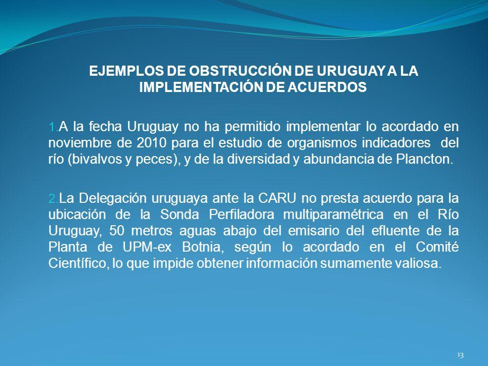 EJEMPLOS DE OBSTRUCCIÓN DE URUGUAY A LA IMPLEMENTACIÓN DE ACUERDOS 1. A la fecha Uruguay no ha permitido implementar lo acordado en noviembre de 2010