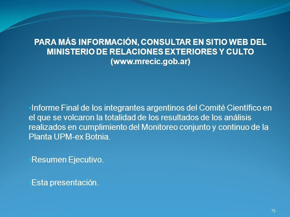 PARA MÁS INFORMACIÓN, CONSULTAR EN SITIO WEB DEL MINISTERIO DE RELACIONES EXTERIORES Y CULTO (www.mrecic.gob.ar) Informe Final de los integrantes arge