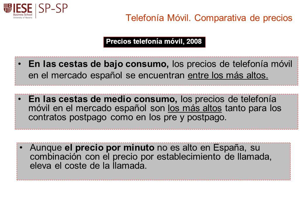En las cestas de bajo consumo, los precios de telefonía móvil en el mercado español se encuentran entre los más altos. Telefonía Móvil. Comparativa de