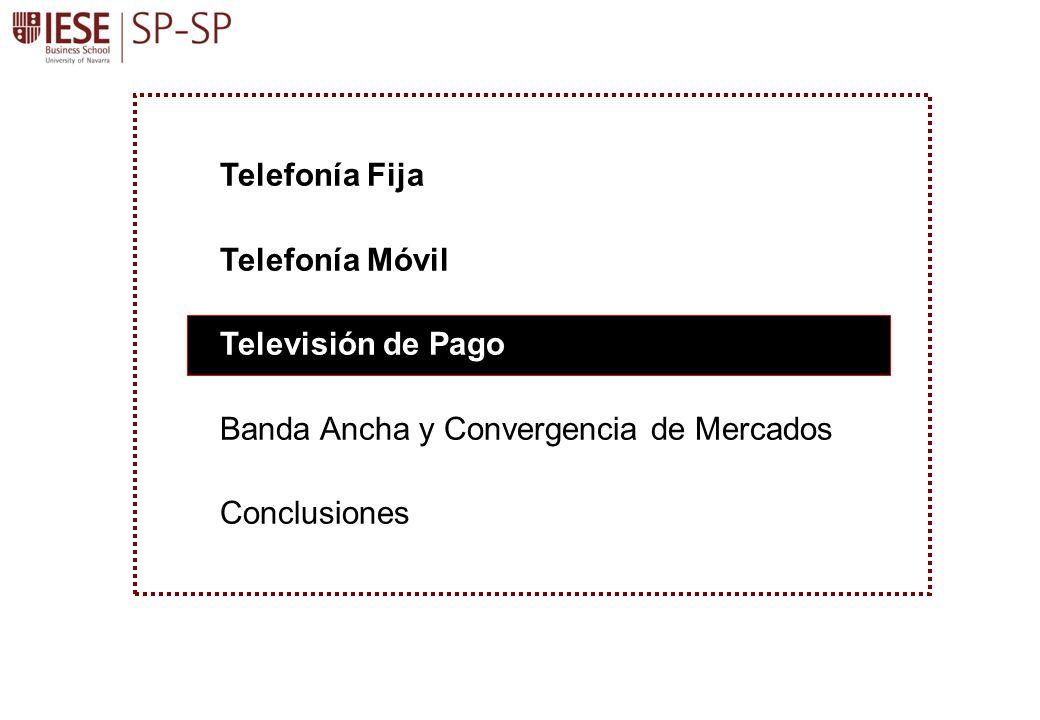 Telefonía Fija Telefonía Móvil Televisión de Pago Banda Ancha y Convergencia de Mercados Conclusiones