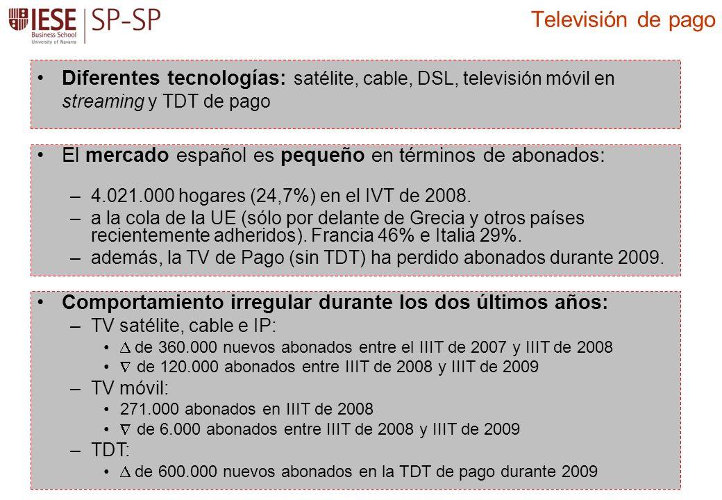 Diferentes tecnologías: satélite, cable, DSL, televisión móvil en streaming y TDT de pago Televisión de pago El mercado español es pequeño en términos