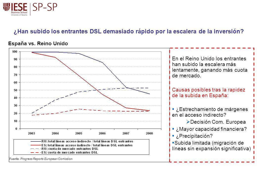 ¿Han subido los entrantes DSL demasiado rápido por la escalera de la inversión? En el Reino Unido los entrantes han subido la escalera más lentamente,