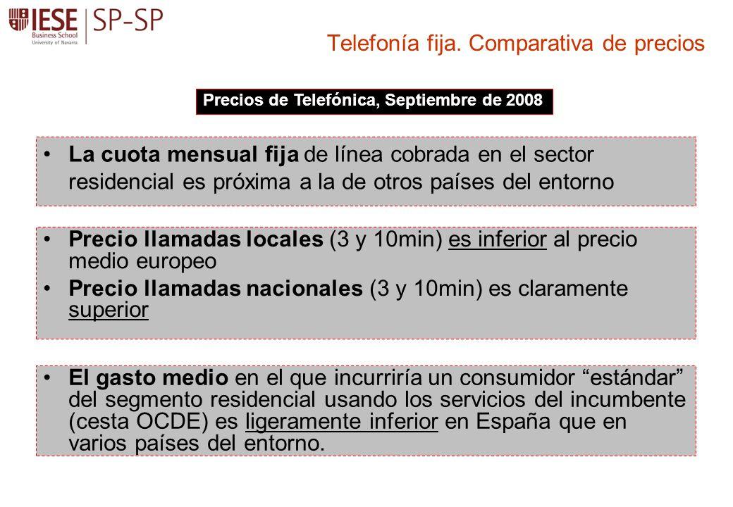 La cuota mensual fija de línea cobrada en el sector residencial es próxima a la de otros países del entorno Telefonía fija. Comparativa de precios Pre