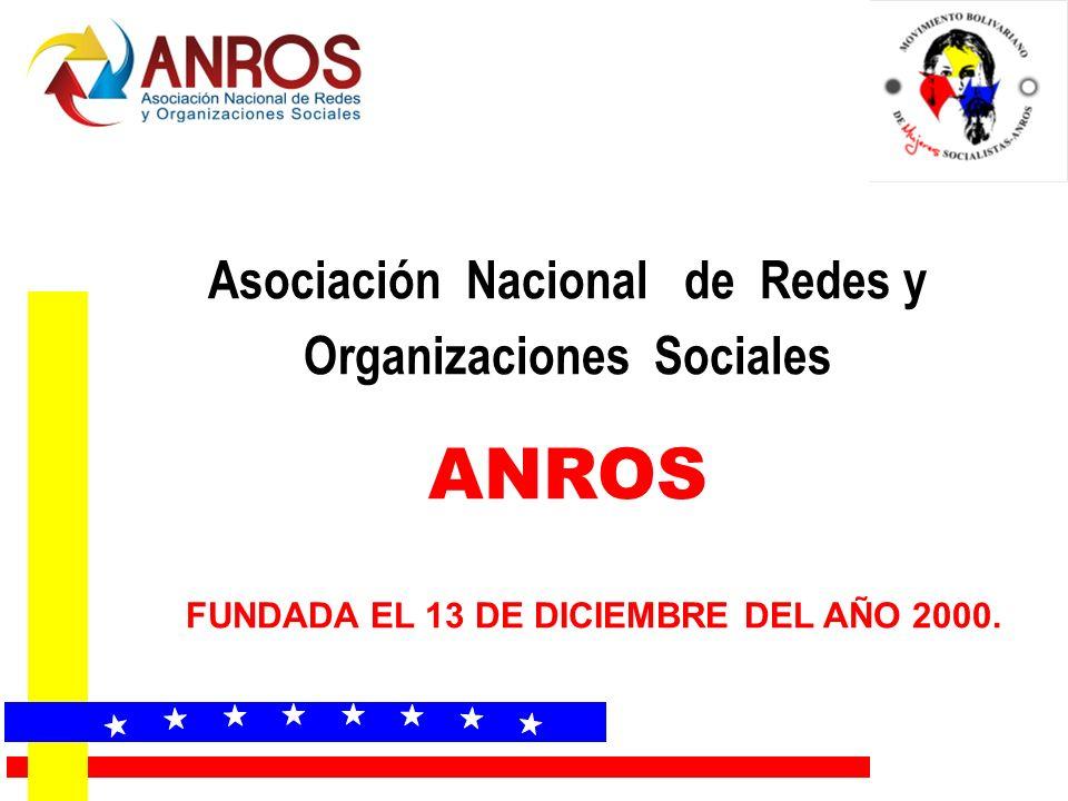 Asociación Nacional de Redes y Organizaciones Sociales ANROS FUNDADA EL 13 DE DICIEMBRE DEL AÑO 2000.