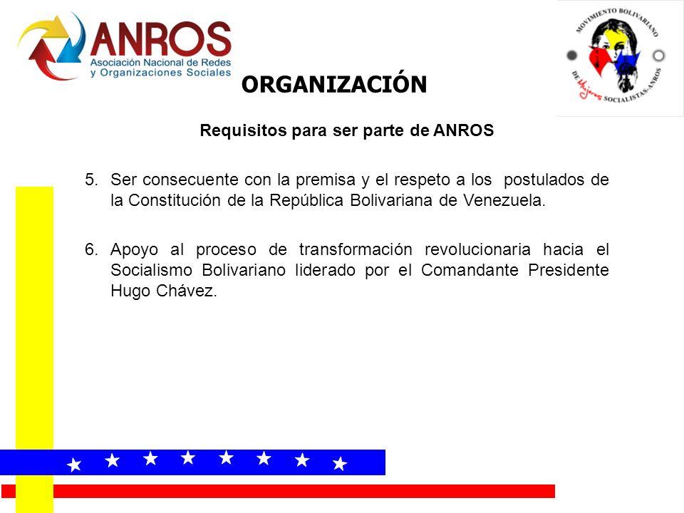 Requisitos para ser parte de ANROS 5.Ser consecuente con la premisa y el respeto a los postulados de la Constitución de la República Bolivariana de Ve