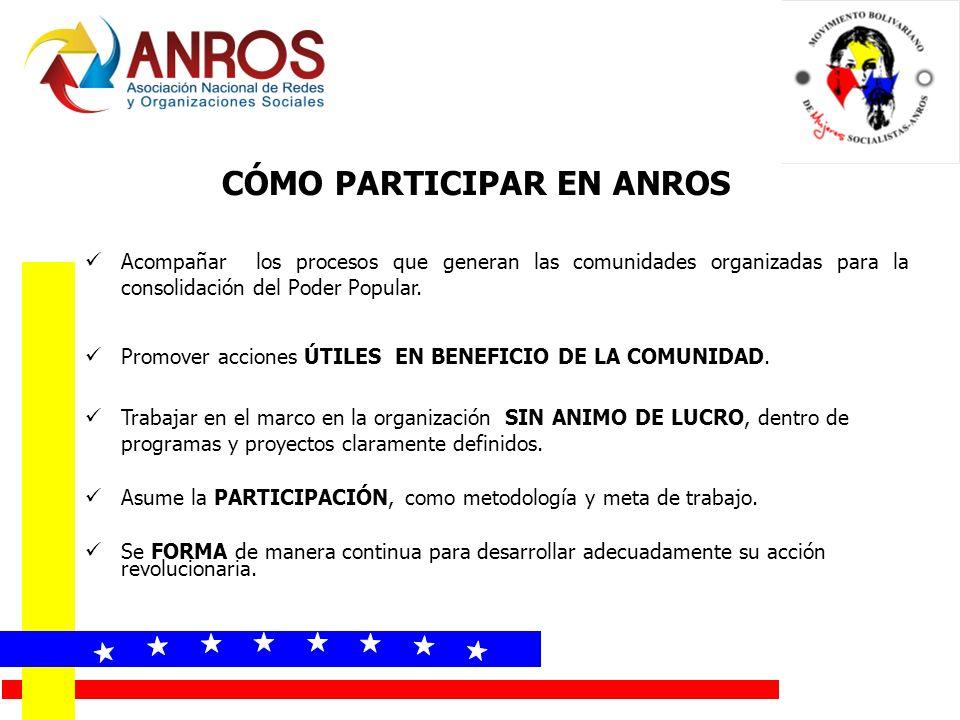 Acompañar los procesos que generan las comunidades organizadas para la consolidación del Poder Popular.