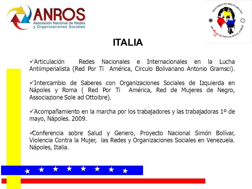 ITALIA Articulación Redes Nacionales e Internacionales en la Lucha Antiimperialista (Red Por Ti América, Circulo Bolivariano Antonio Gramsci).