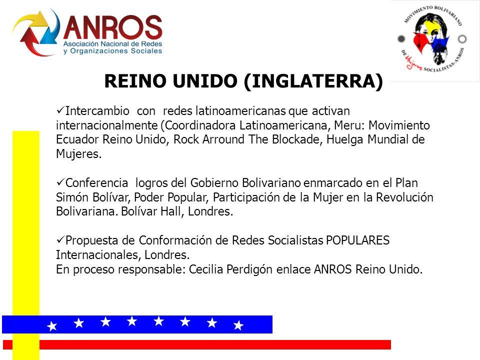 REINO UNIDO (INGLATERRA) Intercambio con redes latinoamericanas que activan internacionalmente (Coordinadora Latinoamericana, Meru: Movimiento Ecuador Reino Unido, Rock Arround The Blockade, Huelga Mundial de Mujeres.