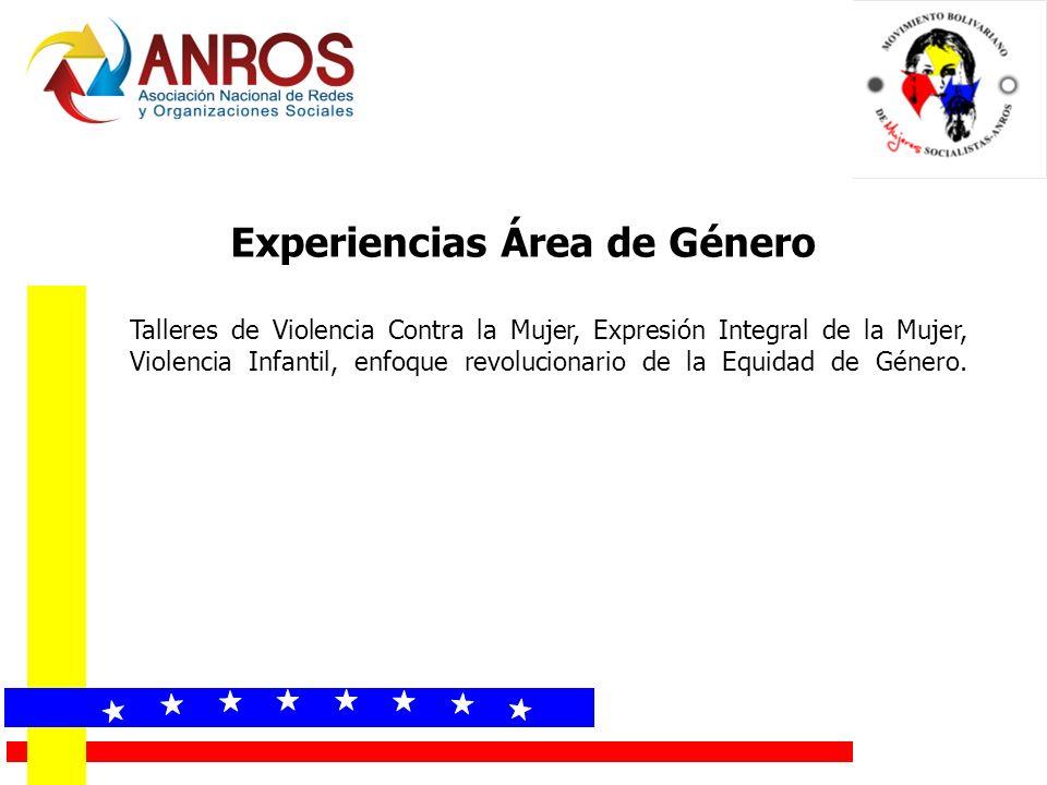 Experiencias Área de Género Talleres de Violencia Contra la Mujer, Expresión Integral de la Mujer, Violencia Infantil, enfoque revolucionario de la Equidad de Género.