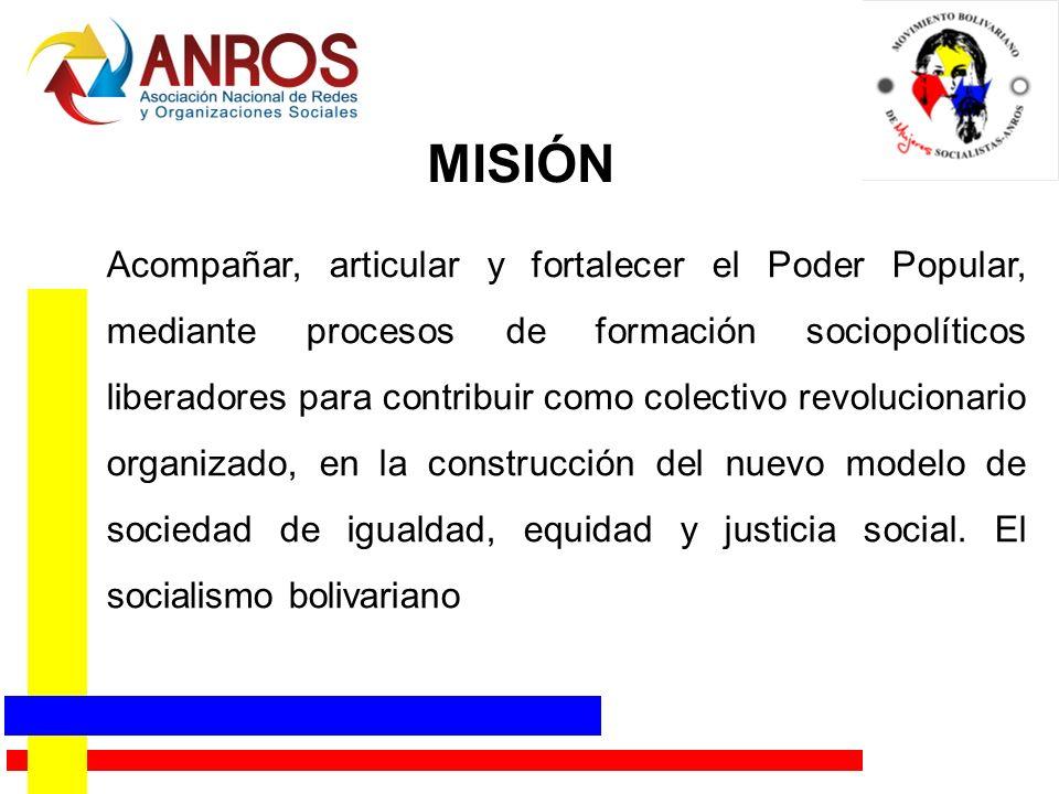 MISIÓN Acompañar, articular y fortalecer el Poder Popular, mediante procesos de formación sociopolíticos liberadores para contribuir como colectivo re
