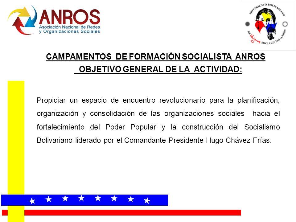 OBJETIVO GENERAL DE LA ACTIVIDAD: Propiciar un espacio de encuentro revolucionario para la planificación, organización y consolidación de las organizaciones sociales hacia el fortalecimiento del Poder Popular y la construcción del Socialismo Bolivariano liderado por el Comandante Presidente Hugo Chávez Frías.