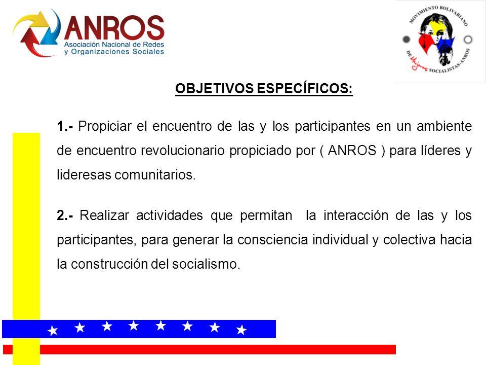 OBJETIVOS ESPECÍFICOS: 1.- Propiciar el encuentro de las y los participantes en un ambiente de encuentro revolucionario propiciado por ( ANROS ) para