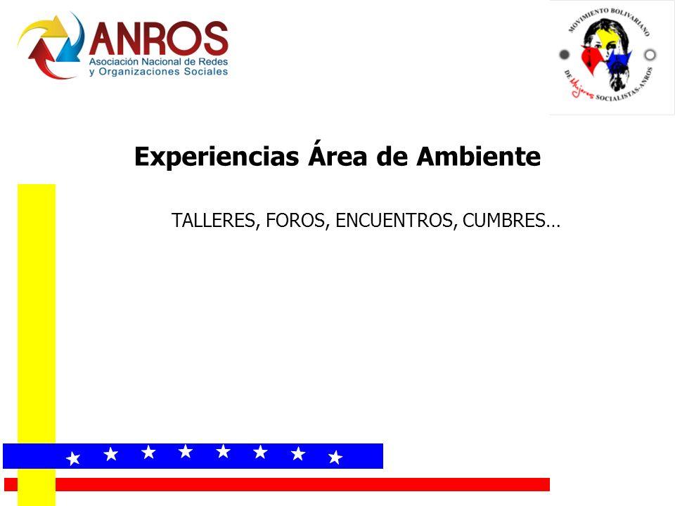 Experiencias Área de Ambiente TALLERES, FOROS, ENCUENTROS, CUMBRES…