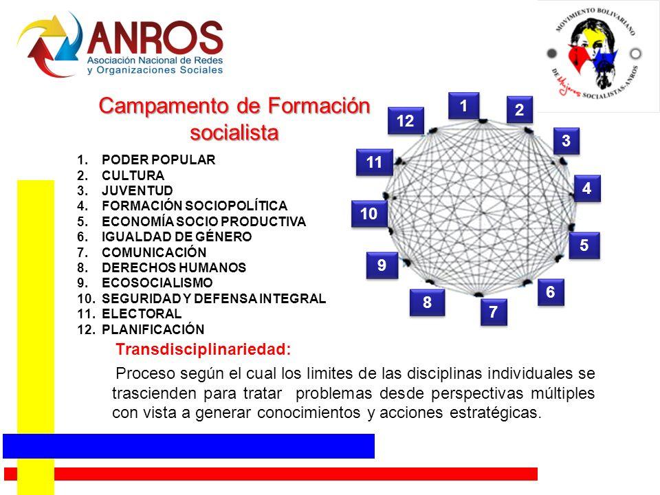 Campamento de Formación socialista Transdisciplinariedad: Proceso según el cual los limites de las disciplinas individuales se trascienden para tratar