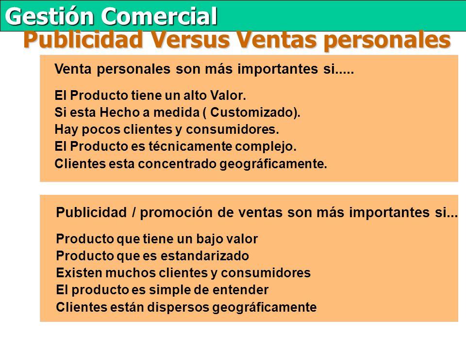 Gestión Comercial Publicidad Versus Ventas personales Venta personales son más importantes si.....