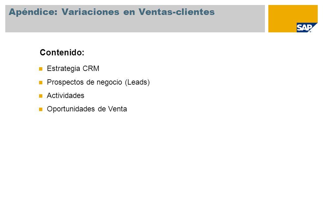 Estrategia CRM Prospectos de negocio (Leads) Actividades Oportunidades de Venta Contenido: Apéndice: Variaciones en Ventas-clientes