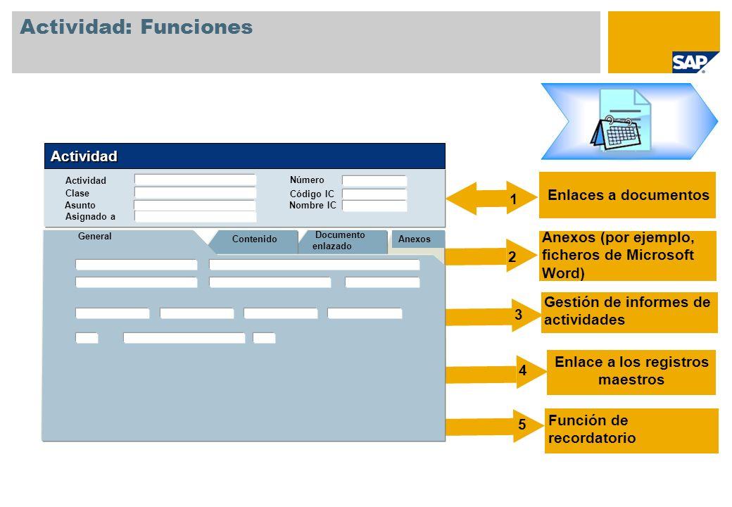 Actividad: Funciones Enlaces a documentos Anexos (por ejemplo, ficheros de Microsoft Word) Gestión de informes de actividades General Documento enlazado Contenido Actividad Clase Asignado a Actividad Anexos Código IC Nombre IC Número Asunto Función de recordatorio Enlace a los registros maestros 1 2 3 4 5