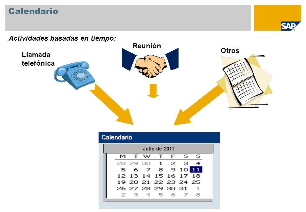 Calendario Calendario Llamada telefónica Reunión Otros Actividades basadas en tiempo: Julio de 2011