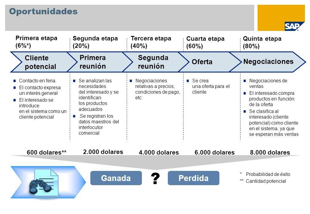 Oportunidades Ganada Primera etapa (6%*) Segunda etapa (20%) Tercera etapa (40%) Cuarta etapa (60%) Quinta etapa (80%) Perdida .