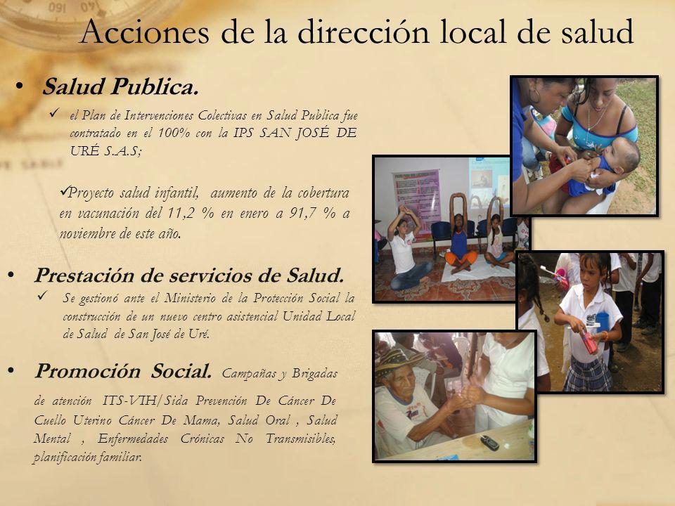 Acciones de la dirección local de salud Salud Publica. el Plan de Intervenciones Colectivas en Salud Publica fue contratado en el 100% con la IPS SAN