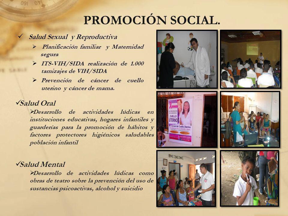 PROMOCIÓN SOCIAL. Salud Sexual y Reproductiva Planificación familiar y Maternidad segura ITS-VIH/SIDA realización de 1.000 tamizajes de VIH/SIDA Preve