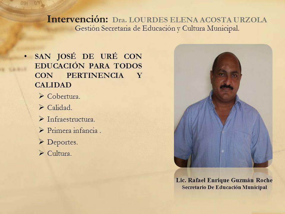 Intervención: Dra. LOURDES ELENA ACOSTA URZOLA Gestión Secretaria de Educación y Cultura Municipal. SAN JOSÉ DE URÉ CON EDUCACIÓN PARA TODOS CON PERTI