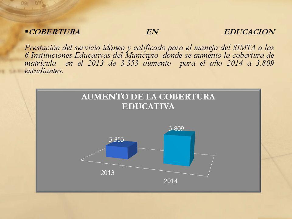 COBERTURA EN EDUCACION Prestación del servicio idóneo y calificado para el manejo del SIMTA a las 6 Instituciones Educativas del Municipio donde se au