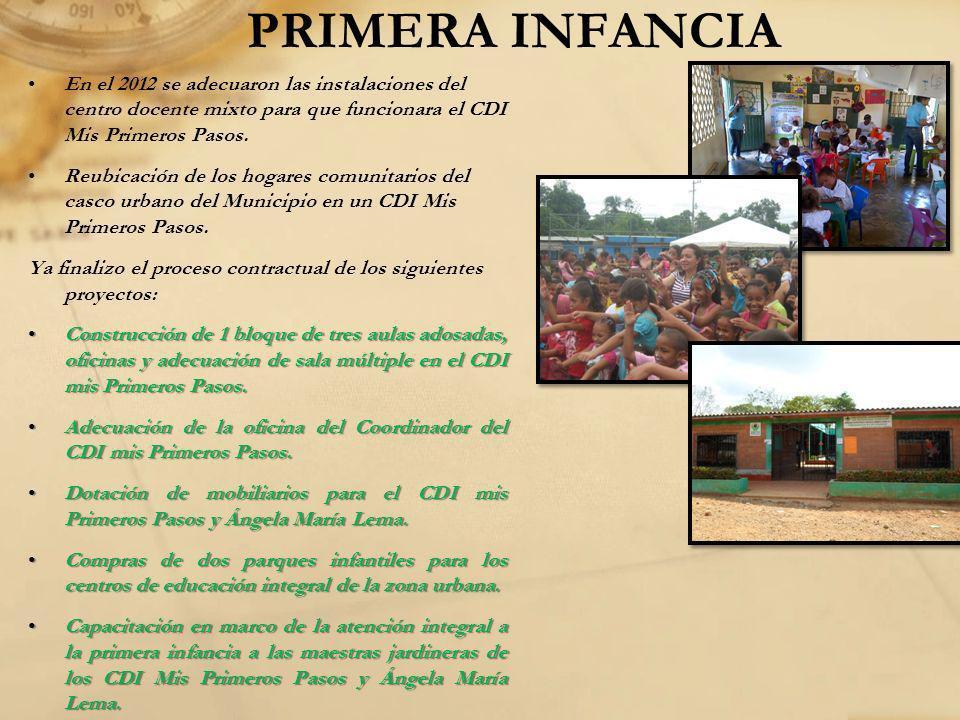 PRIMERA INFANCIA En el 2012 se adecuaron las instalaciones del centro docente mixto para que funcionara el CDI Mis Primeros Pasos. Reubicación de los