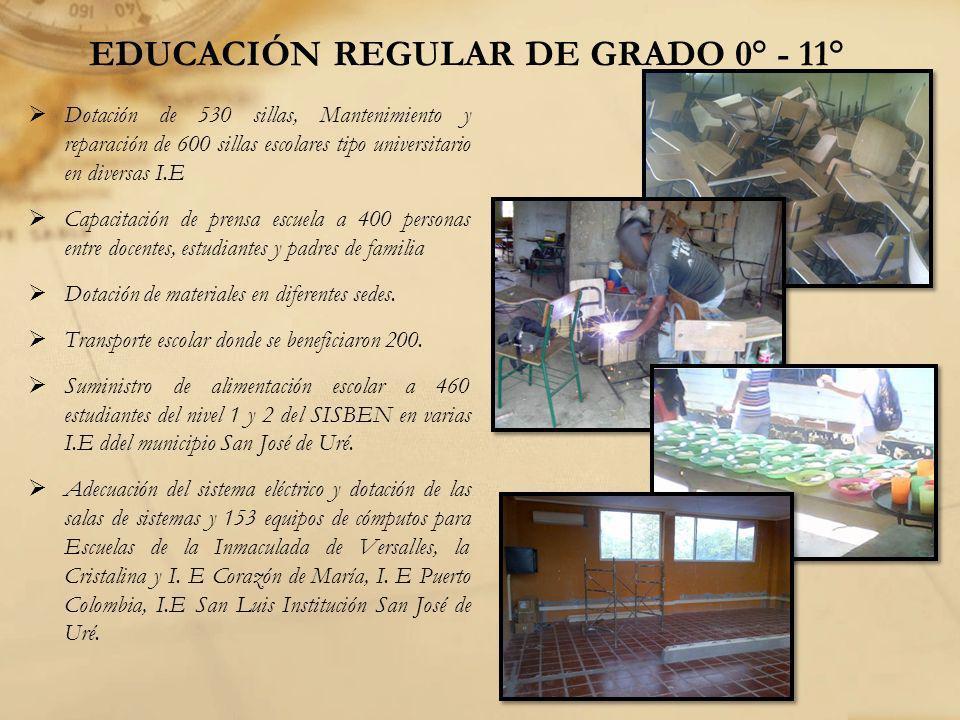 EDUCACIÓN REGULAR DE GRADO 0° - 11° Dotación de 530 sillas, Mantenimiento y reparación de 600 sillas escolares tipo universitario en diversas I.E Capa