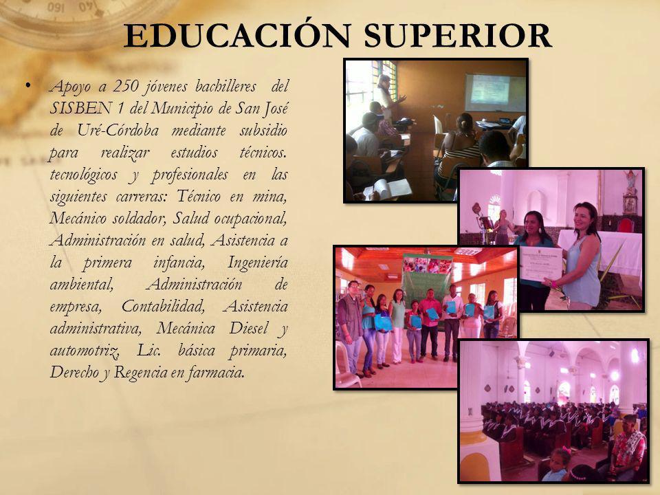 EDUCACIÓN SUPERIOR Apoyo a 250 jóvenes bachilleres del SISBEN 1 del Municipio de San José de Uré-Córdoba mediante subsidio para realizar estudios técn