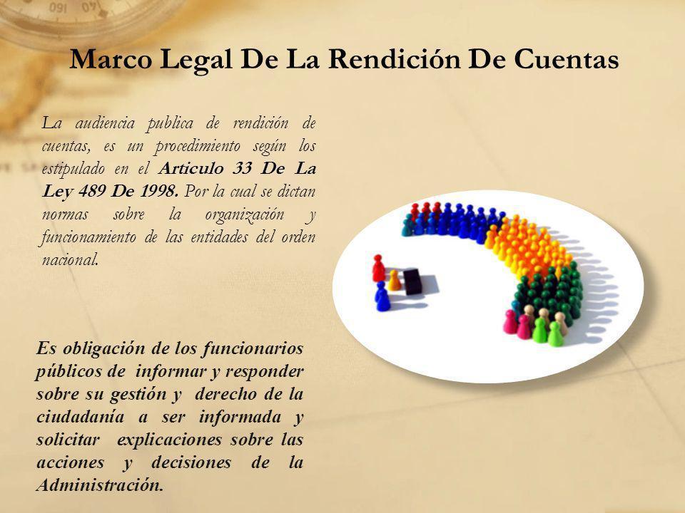 Marco Legal De La Rendición De Cuentas La audiencia publica de rendición de cuentas, es un procedimiento según los estipulado en el Articulo 33 De La