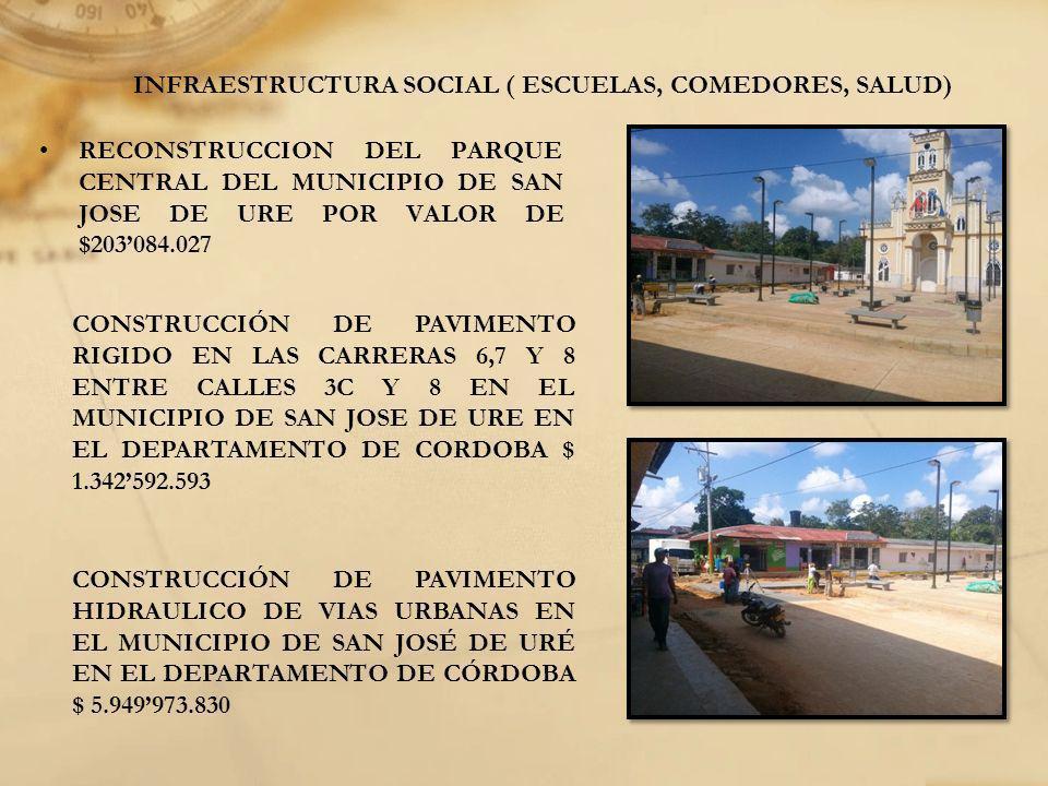 INFRAESTRUCTURA SOCIAL ( ESCUELAS, COMEDORES, SALUD) RECONSTRUCCION DEL PARQUE CENTRAL DEL MUNICIPIO DE SAN JOSE DE URE POR VALOR DE $203084.027 CONST
