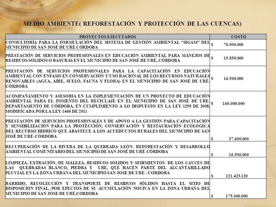 MEDIO AMBIENTE( REFORESTACIÓN Y PROTECCIÓN DE LAS CUENCAS) PROYECTOS EJECUTADOS COSTO CONSULTORÍA PARA LA FORMULACIÓN DEL SISTEMA DE GESTIÓN AMBIENTAL