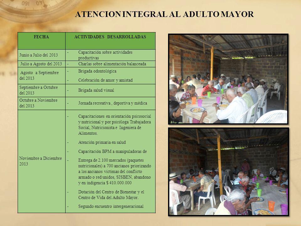 ATENCION INTEGRAL AL ADULTO MAYOR FECHAACTIVIDADES DESARROLLADAS Junio a Julio del 2013 - Capacitación sobre actividades productivas Julio a Agosto de