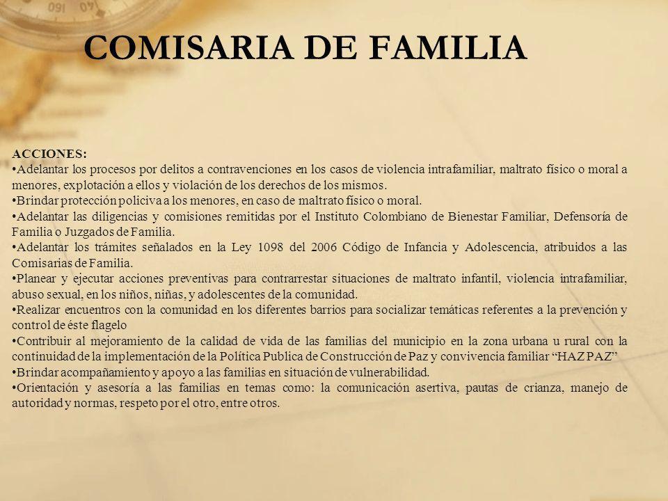 COMISARIA DE FAMILIA ACCIONES: Adelantar los procesos por delitos a contravenciones en los casos de violencia intrafamiliar, maltrato físico o moral a