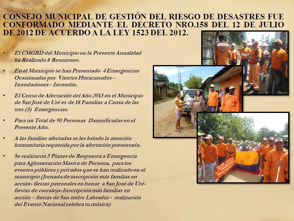 CONSEJO MUNICIPAL DE GESTIÓN DEL RIESGO DE DESASTRES FUE CONFORMADO MEDIANTE EL DECRETO NRO.158 DEL 12 DE JULIO DE 2012 DE ACUERDO A LA LEY 1523 DEL 2