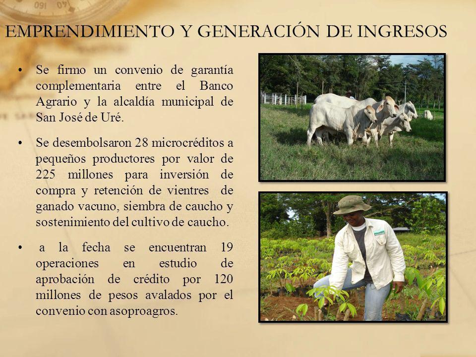 EMPRENDIMIENTO Y GENERACIÓN DE INGRESOS Se firmo un convenio de garantía complementaria entre el Banco Agrario y la alcaldía municipal de San José de