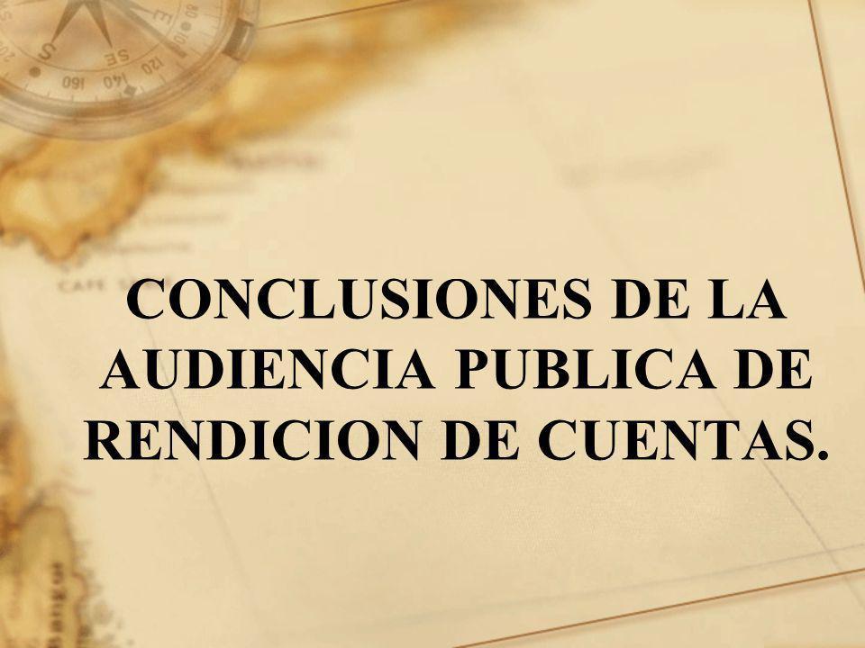 CONCLUSIONES DE LA AUDIENCIA PUBLICA DE RENDICION DE CUENTAS.