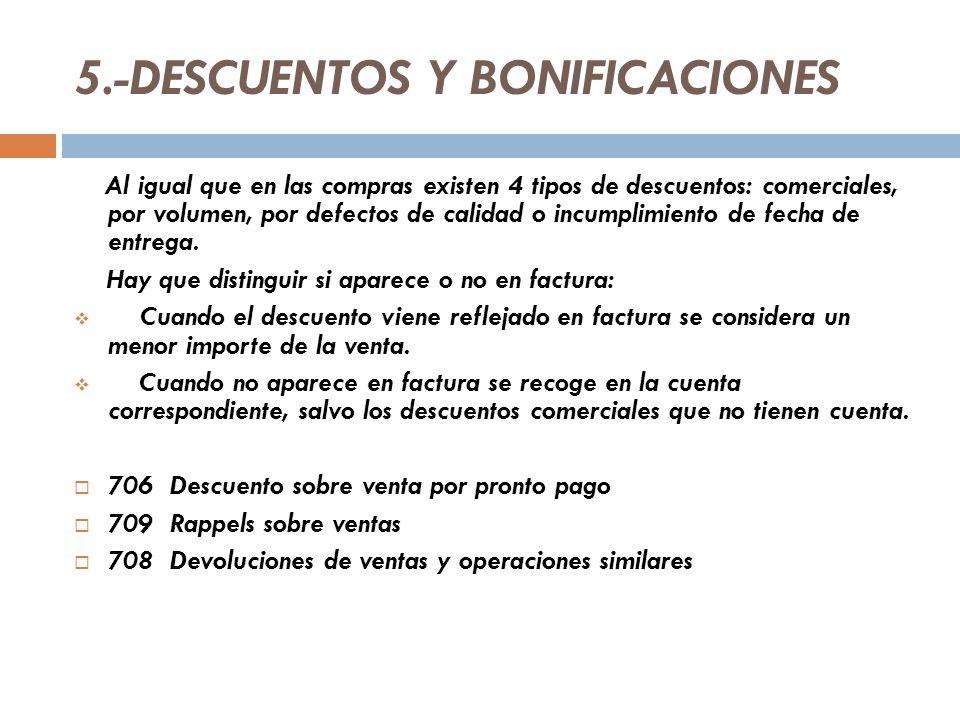5.-DESCUENTOS Y BONIFICACIONES Al igual que en las compras existen 4 tipos de descuentos: comerciales, por volumen, por defectos de calidad o incumplimiento de fecha de entrega.
