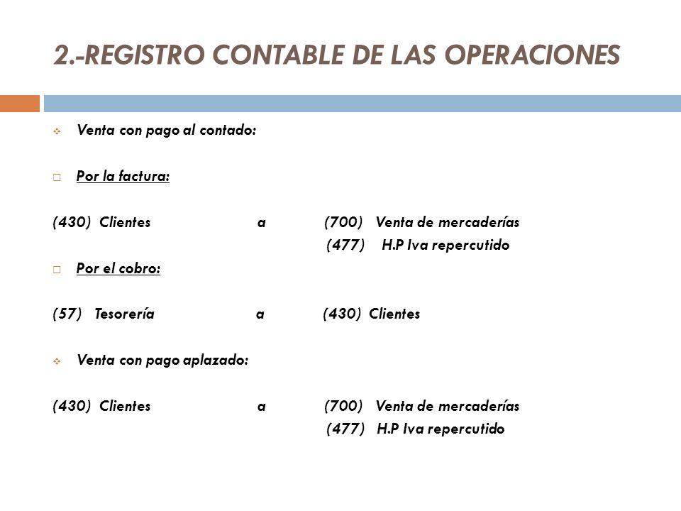 2.-REGISTRO CONTABLE DE LAS OPERACIONES Venta con pago al contado: Por la factura: (430) Clientes a (700) Venta de mercaderías (477) H.P Iva repercutido Por el cobro: (57) Tesorería a (430) Clientes Venta con pago aplazado: (430) Clientes a (700) Venta de mercaderías (477) H.P Iva repercutido