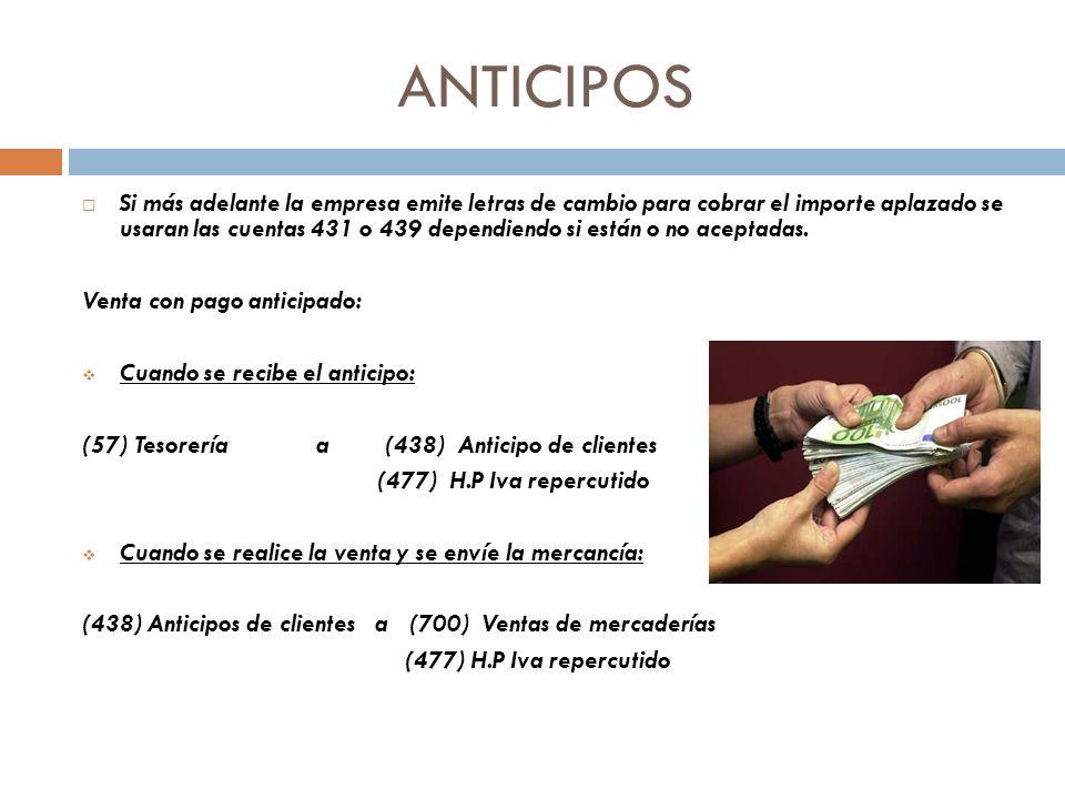 ANTICIPOS Si más adelante la empresa emite letras de cambio para cobrar el importe aplazado se usaran las cuentas 431 o 439 dependiendo si están o no aceptadas.