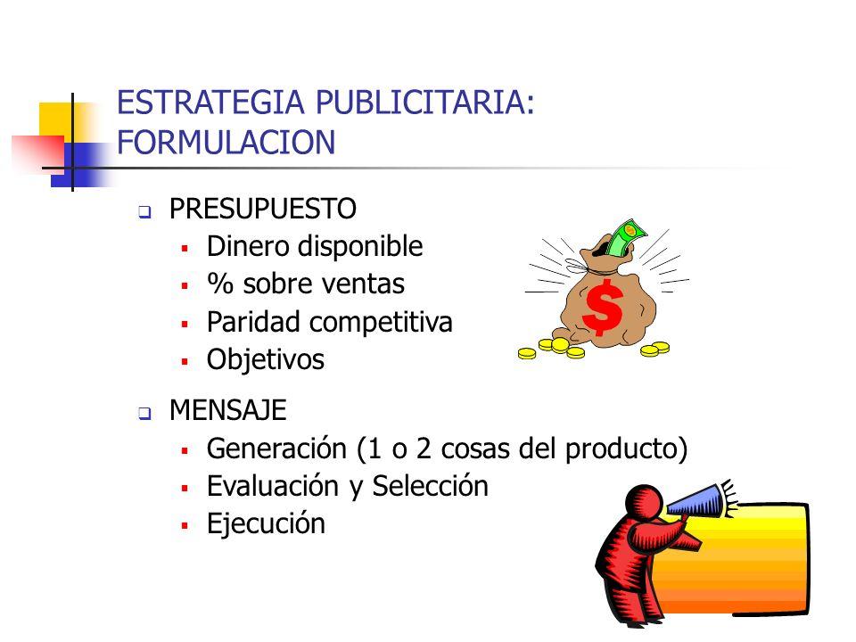 ESTRATEGIA PUBLICITARIA: FORMULACION PRESUPUESTO Dinero disponible % sobre ventas Paridad competitiva Objetivos MENSAJE Generación (1 o 2 cosas del pr