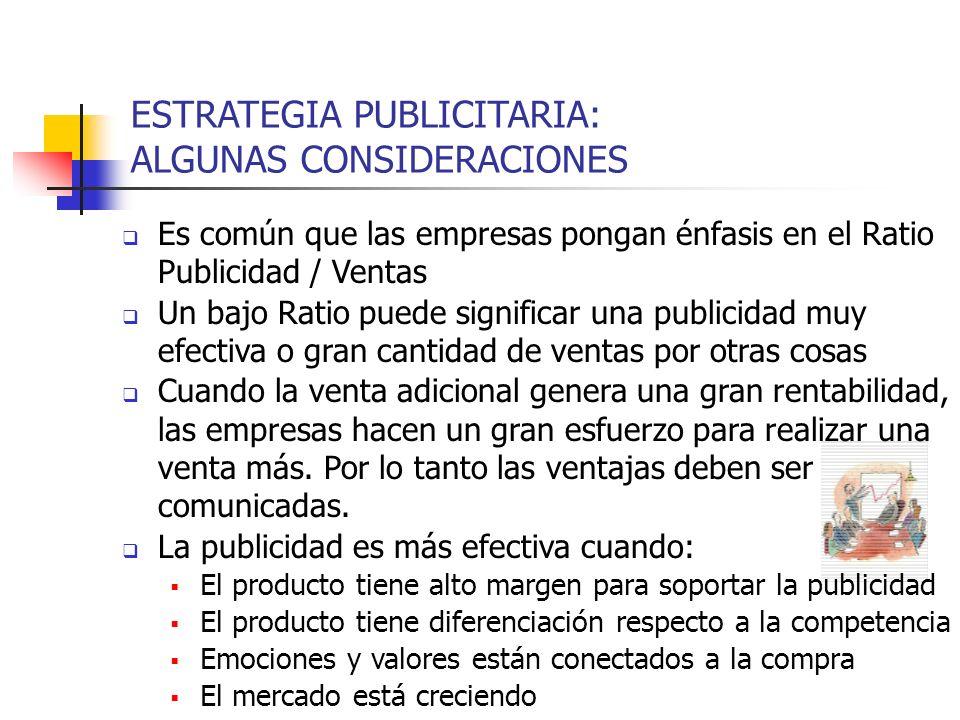 ESTRATEGIA PUBLICITARIA: ALGUNAS CONSIDERACIONES Es común que las empresas pongan énfasis en el Ratio Publicidad / Ventas Un bajo Ratio puede signific